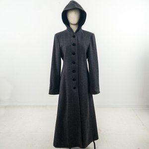 Vintage 6 Wool Hooded Long Winter Overcoat Gray